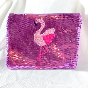 NWT tarte Purple Sequin Flamingo Makeup Bag Case